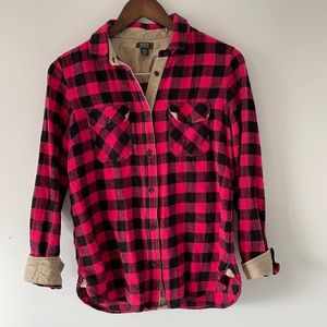 Roots flannel buffalo check elbow patch size medium pink & black